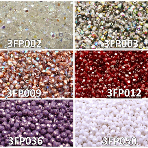 Set of Czech Fire-Polished Glass Beads Round 3mm - 6 colors (3FP002 3FP003 3FP009 3FP012 3FP036 3FP050)