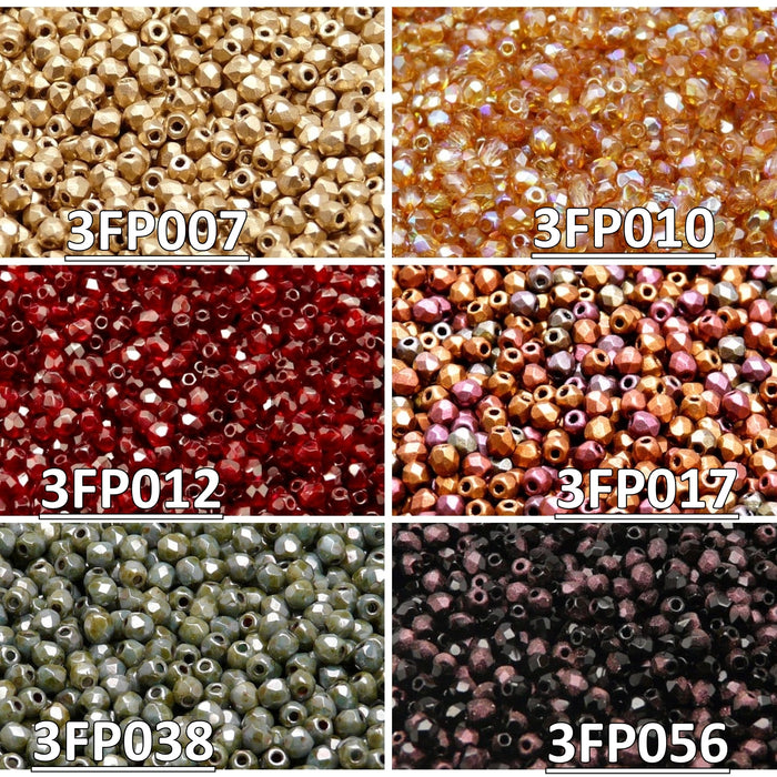 Set of Czech Fire-Polished Glass Beads Round 3mm - 6 colors (3FP007 3FP010 3FP012 3FP017 3FP038 3FP056)