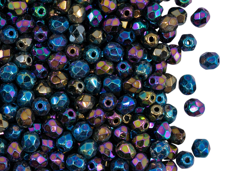 100 pcs Fire Polished Faceted Beads Round, 4mm, Iris Rainbow, Czech Glass