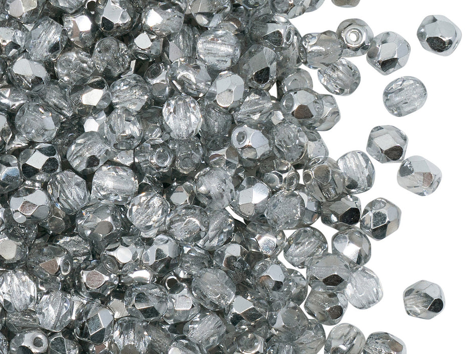 100 pcs Fire Polished Faceted Beads Round, 4mm, Crystal Labrador (Crystal Silver), Czech Glass