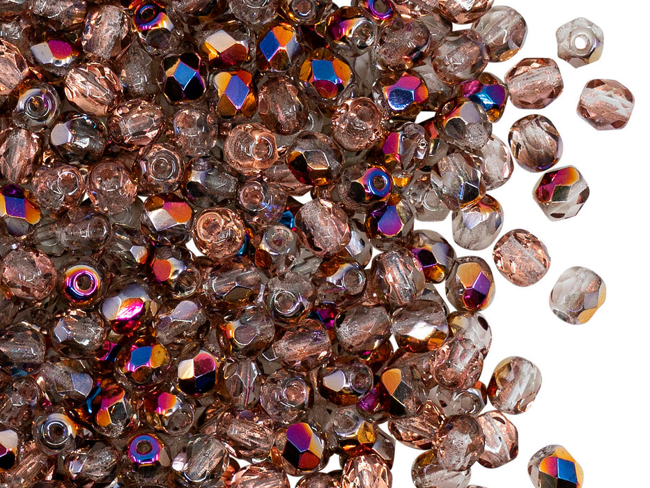 100 pcs Fire Polished Faceted Beads Round, 4mm, Crystal Sliperit, Czech Glass