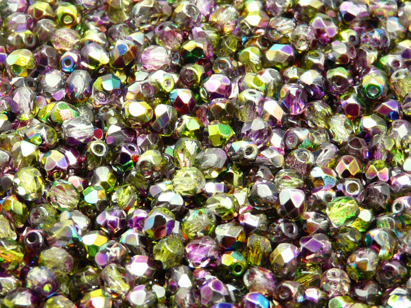 100 pcs Fire Polished Faceted Beads Round, 4mm, Magic Violet Green, Czech Glass