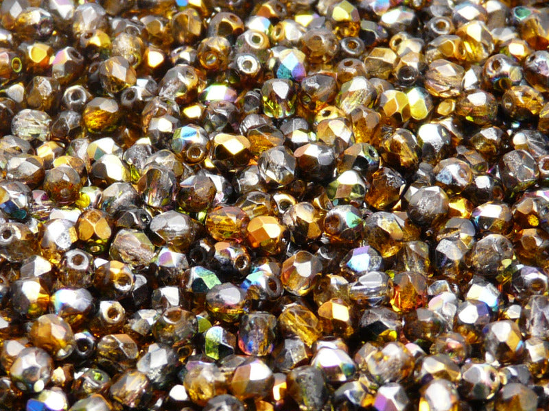 100 pcs Fire Polished Faceted Beads Round, 4mm, Magic Orange Gay, Czech Glass