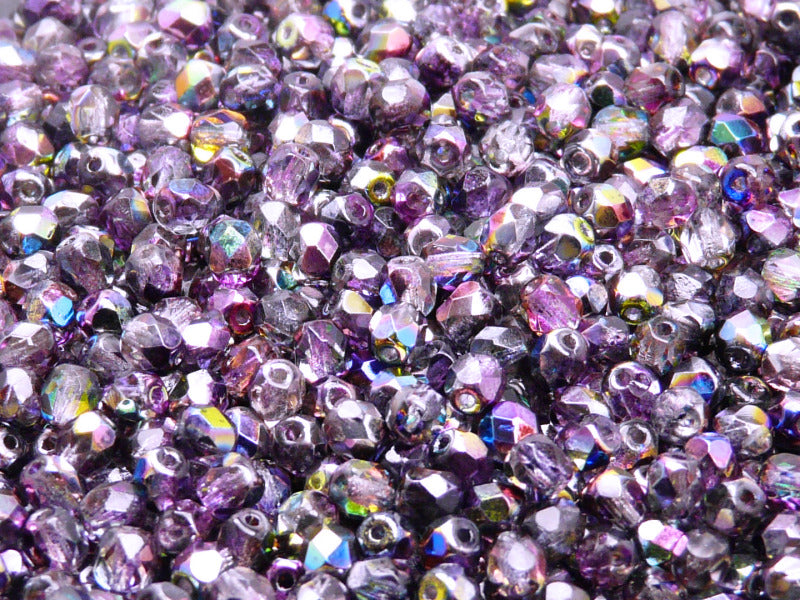 100 pcs Fire Polished Faceted Beads Round, 4mm, Magic Violet Gay, Czech Glass