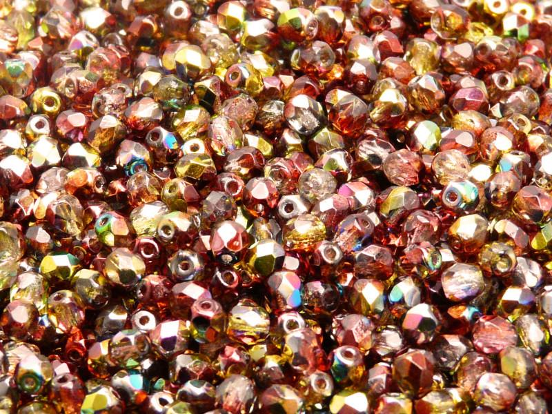 100 pcs Fire Polished Faceted Beads Round, 4mm, Magic Red Yellow, Czech Glass
