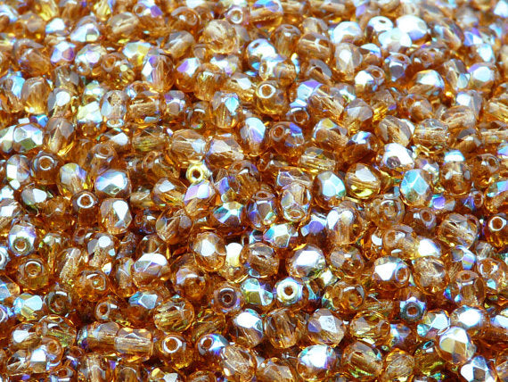 100 pcs Fire Polished Faceted Beads Round, 4mm, Dark Topaz AB, Czech Glass