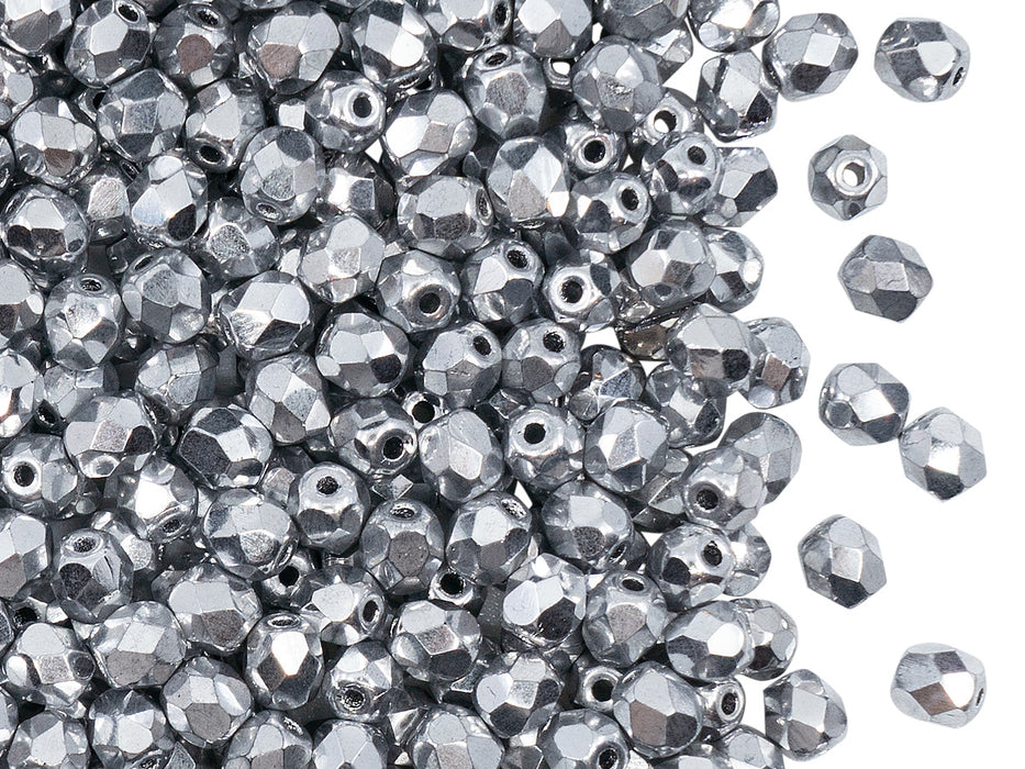 100 pcs Fire Polished Faceted Beads Round, 4mm, Crystal Full Labrador (Silver Metallic), Czech Glass