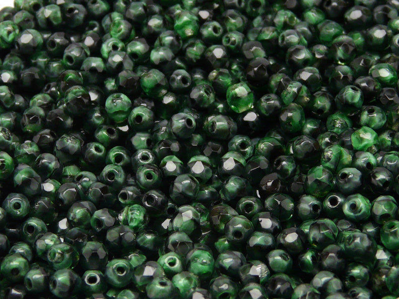 100 pcs Fire Polished Faceted Beads Round, 4mm, Jet Half Green Moonlight, Czech Glass