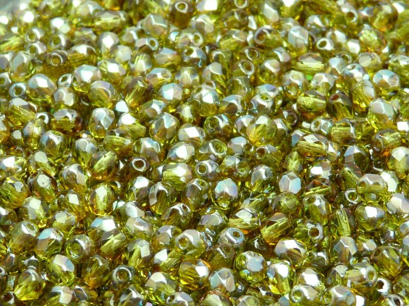 Fire Polished Faceted Beads Round, 4mm, Olivine Celsian, Czech Glass