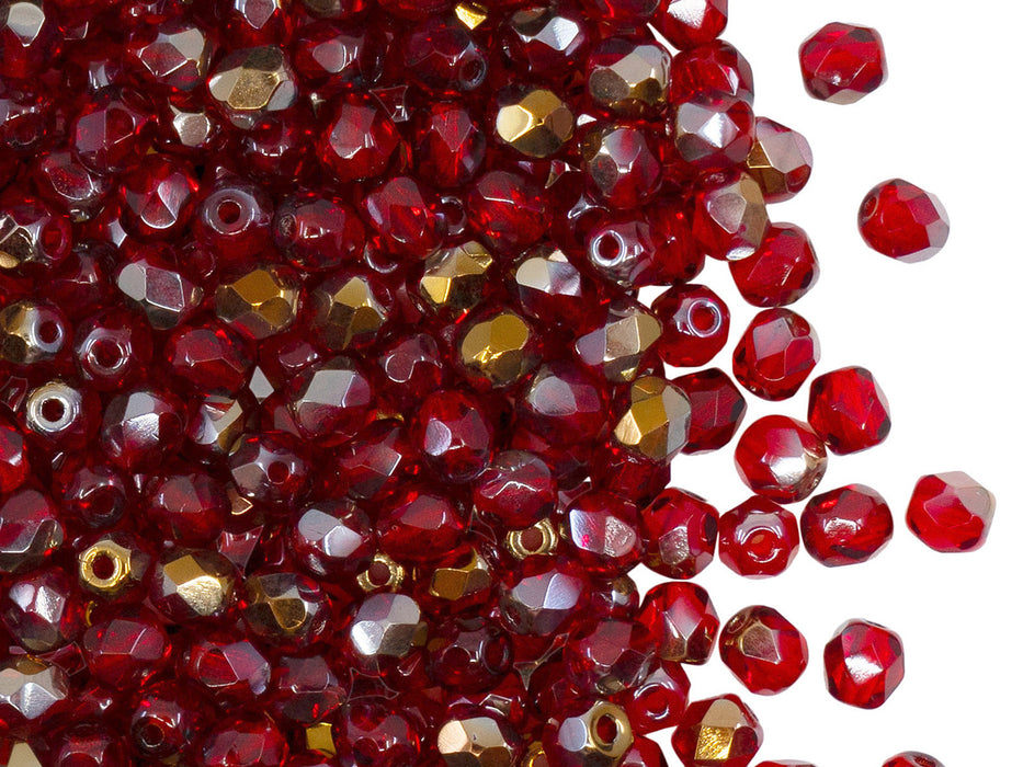 100 pcs Fire Polished Faceted Beads Round, 4mm, Ruby Valentinite, Czech Glass