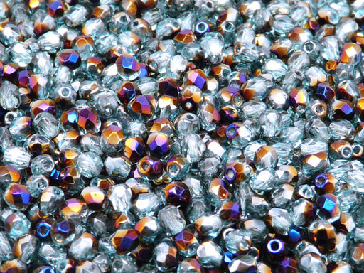 100 pcs Fire Polished Faceted Beads Round, 4mm, Aqua Azuro AB, Czech Glass