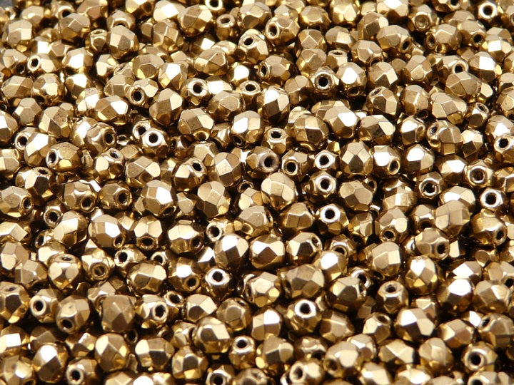 100 pcs Fire Polished Faceted Beads Round, 4mm, Gold Metallic, Czech Glass