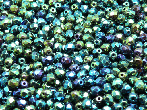 100 pcs Fire Polished Faceted Beads Round, 4mm, Jet Green Iris, Czech Glass