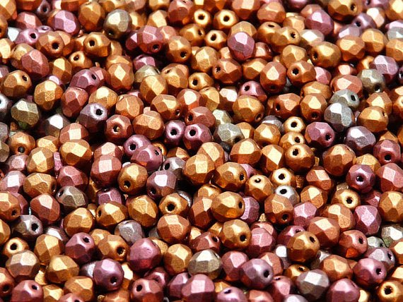 100 pcs Fire Polished Faceted Beads Round, 4mm, Silky Violet Rainbow, Czech Glass