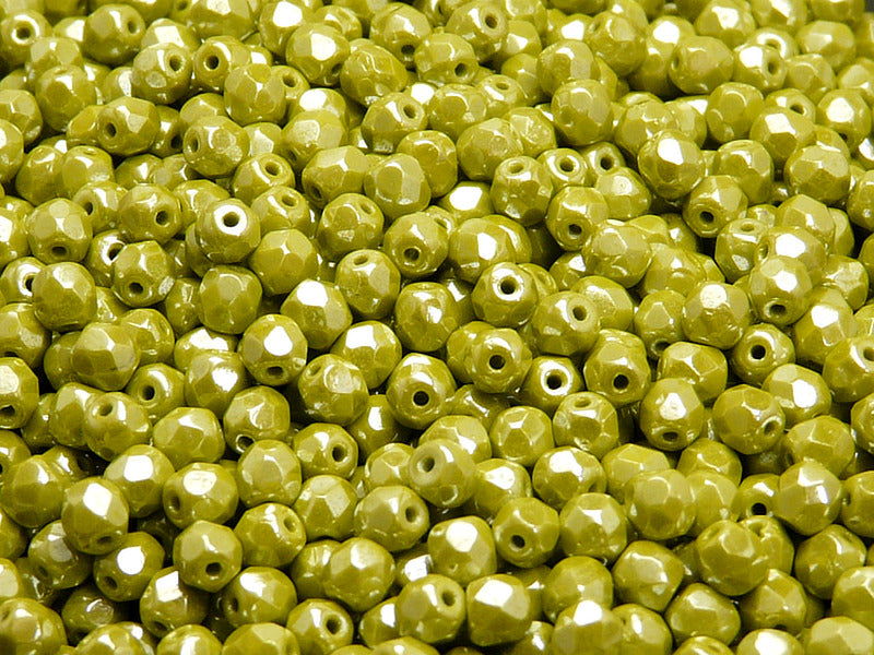 100 pcs Fire Polished Faceted Beads Round, 4mm, Opaque Green Luster, Czech Glass