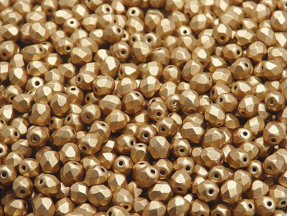 Fire Polished Faceted Beads Round, 4mm, Aztec Gold (Crystal Bronze Pale Gold), Czech Glass