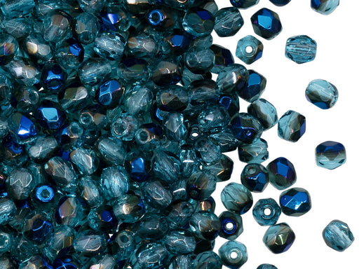 100 pcs Fire Polished Faceted Beads Round 4 mm, Aquamarine Azuro, Czech Glass
