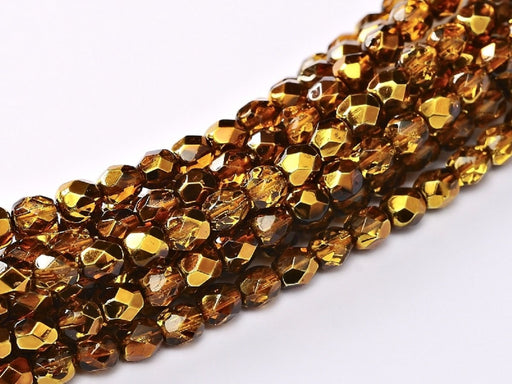 100 pcs 100 pcs Fire Polished Beads 4 mm Crystal Topaz Metallic Ice Czech Glass Brown