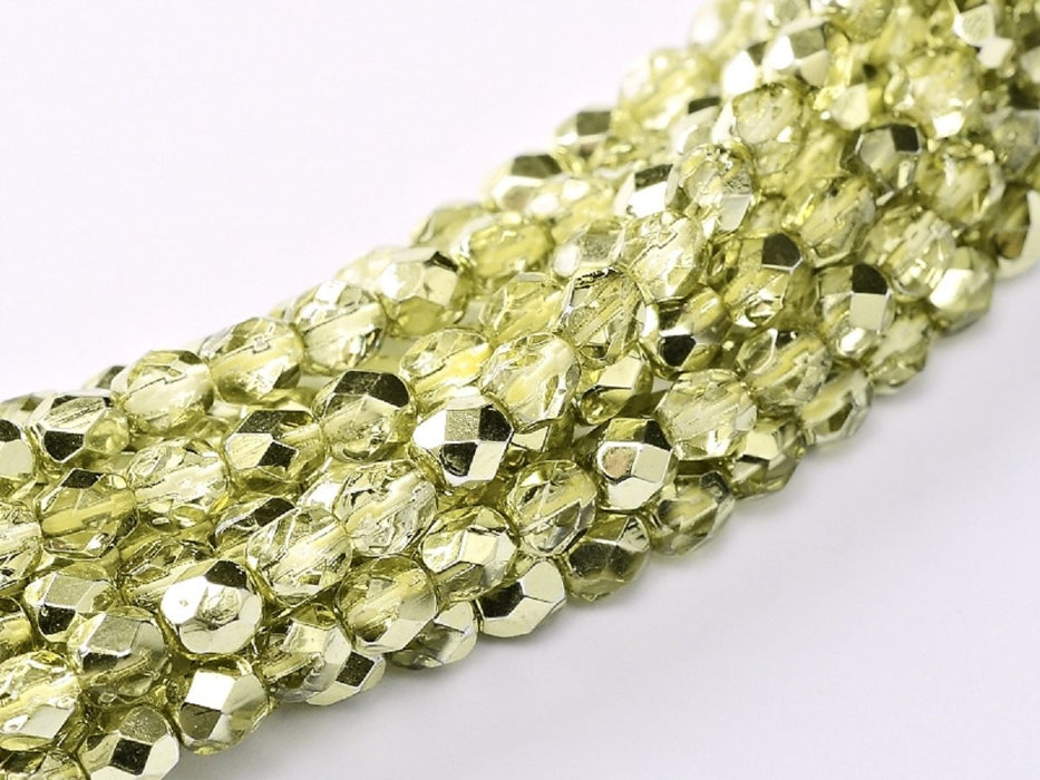 100 pcs 100 pcs Fire Polished Beads 4 mm Crystal Lime Metallic Ice Czech Glass Yellow