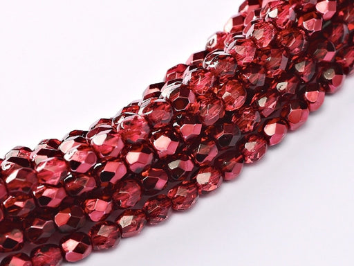 100 pcs 100 pcs Fire Polished Beads 4 mm Crystal Pomegranate Metallic Ice Czech Glass Red
