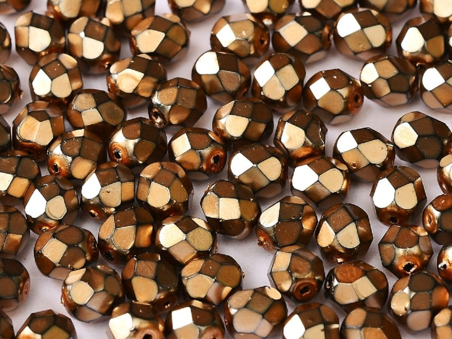 100 pcs 100 pcs Fire Polished Beads 4 mm Jet Heavy Metal Beige Czech Glass