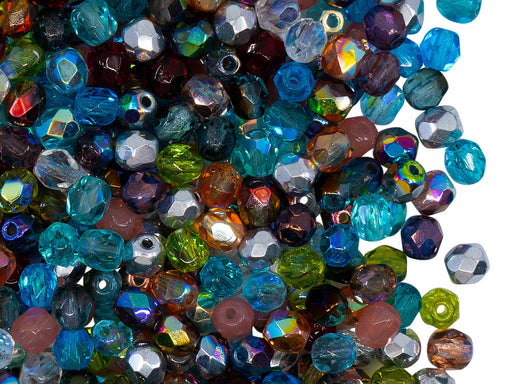 100 pcs Fire Polished Beads 4 mm, Transparent Mix, Czech Glass