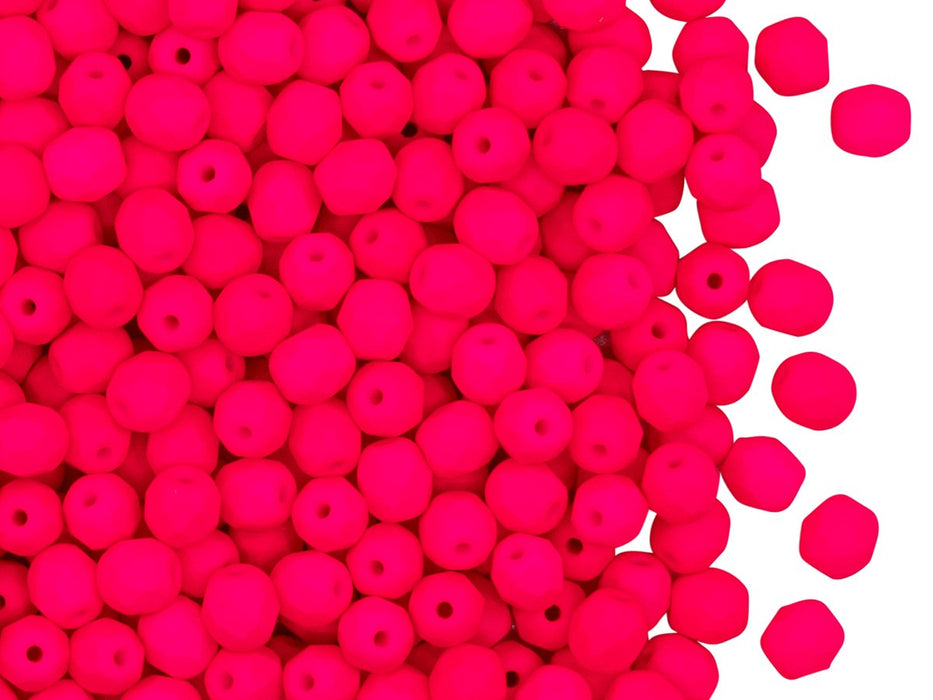 Fire Polished Faceted Beads Round 4 mm, Pink Neon, Czech Glass