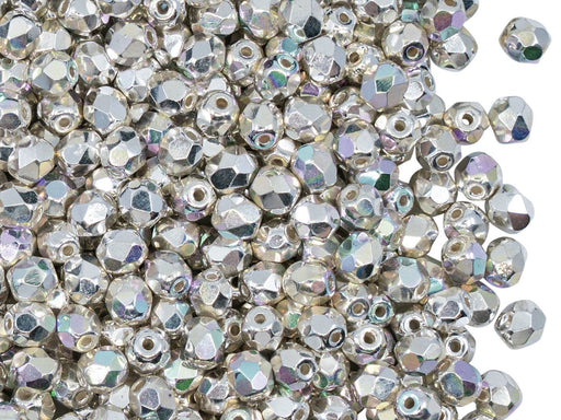 Fire Polished Faceted Beads Round 4 mm, Sterling Silver Plated AB, Czech Glass