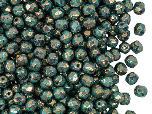 100 pcs Fire Polished Faceted Beads Round 4 mm, Opaque Green Turquoise Bronze, Czech Glass