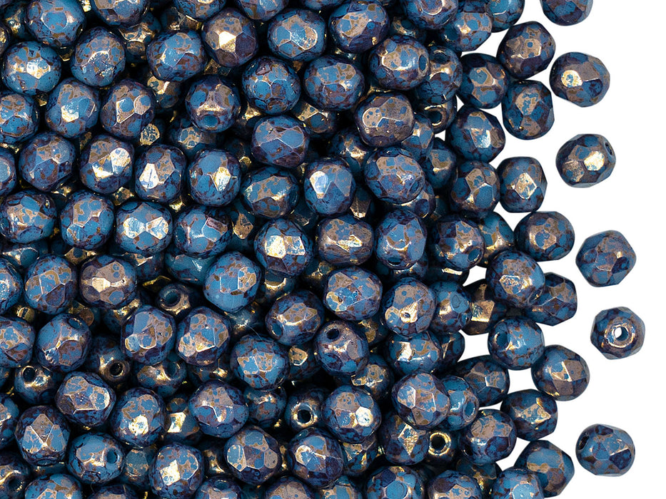 100 pcs Fire Polished Faceted Beads Round 4 mm, Opaque Blue Turquoise Bronze, Czech Glass