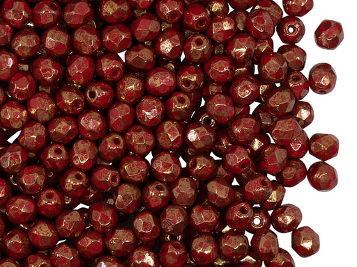 100 pcs Fire Polished Faceted Beads Round 4 mm, Opaque Coral Red Bronze, Czech Glass