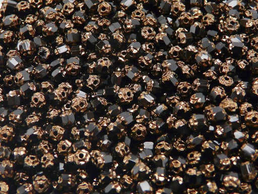 50 pcs Cathedral Fire Polished Faceted Beads, 4mm, Jet Black Bronze Ends, Czech Glass