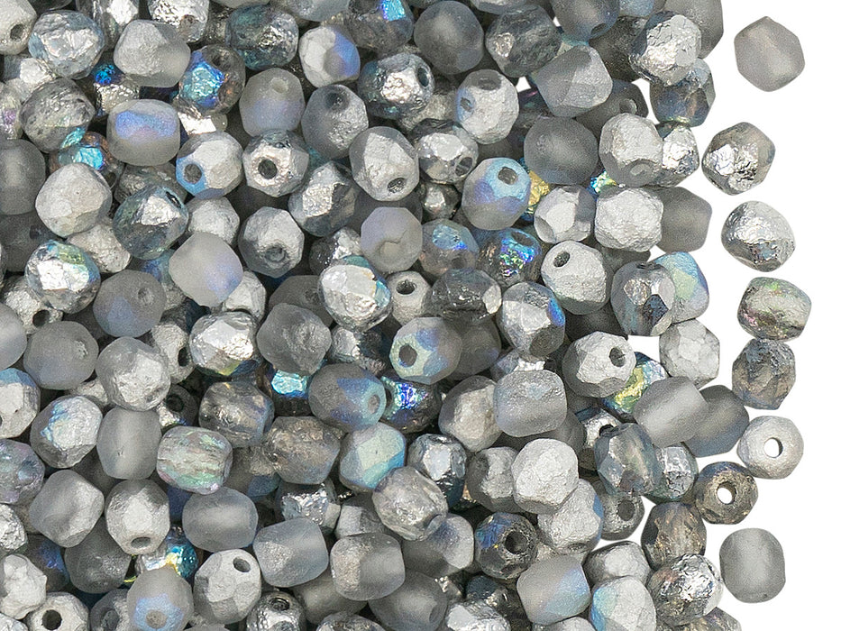 100 pcs Fire-Polished Faceted Beads Round 4mm, Czech Glass, Crystal Etched Silver Rainbow