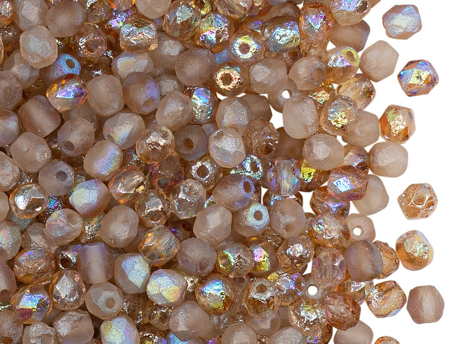 100 pcs Fire-Polished Faceted Beads Round 4mm, Czech Glass, Crystal Etched Brown Rainbow