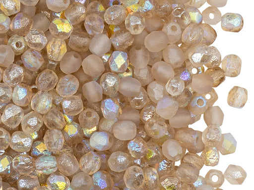 100 pcs Fire-Polished Faceted Beads Round 4mm, Czech Glass, Crystal Etched Lemon Rainbow