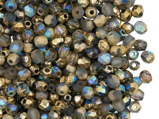 100 pcs Fire-Polished Faceted Beads Round 4mm, Czech Glass, Crystal Etched Golden Rainbow