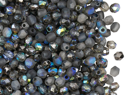 100 pcs Fire-Polished Faceted Beads Round 4mm, Czech Glass, Crystal Etched Graphite Rainbow