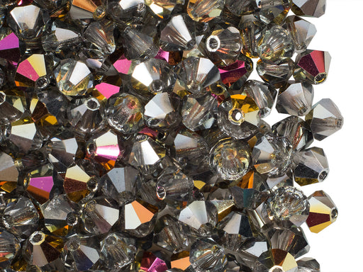 30 pcs MC Rondell Bicone Beads, 4mm, Crystal Vitrail, Czech Glass