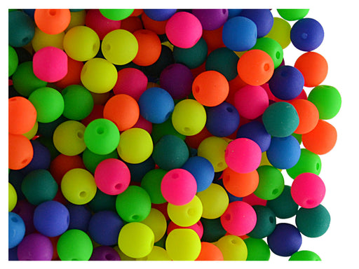 50 pcs Round NEON ESTRELA Beads, 4mm, Mix, Czech Glass