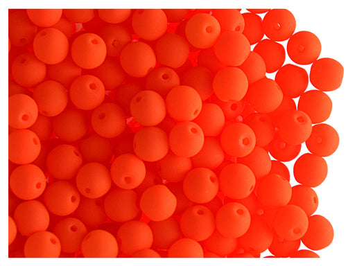 50 pcs Round NEON ESTRELA Beads, 4mm, Orange, Czech Glass