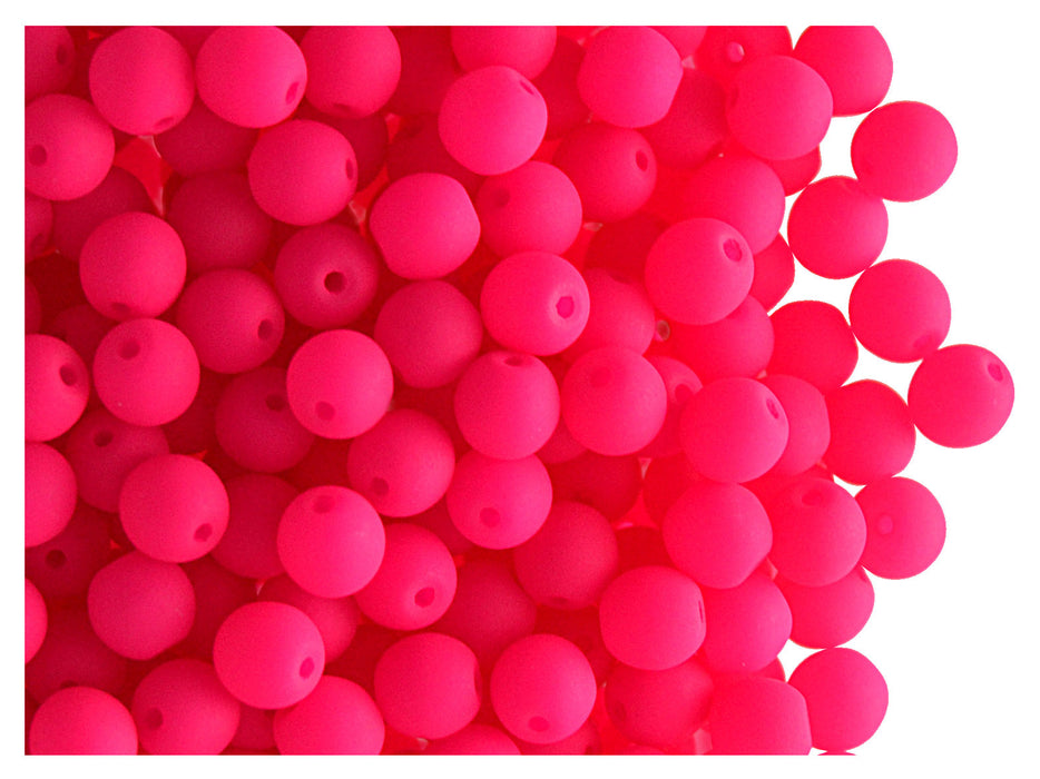 50 pcs Round NEON ESTRELA Beads, 4mm, Pink, Czech Glass