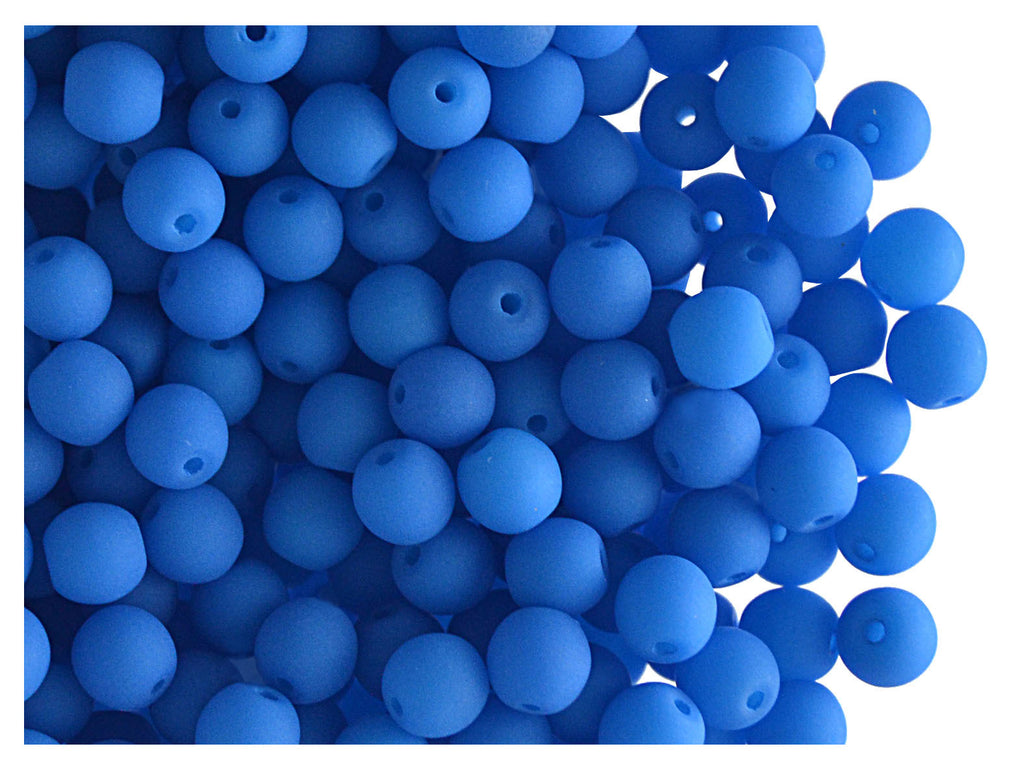 Round NEON ESTRELA Beads, 4mm, Blue, Czech Glass