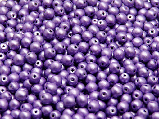 100 pcs Round Pressed Beads, 4mm, Opaque Purple Matte, Czech Glass