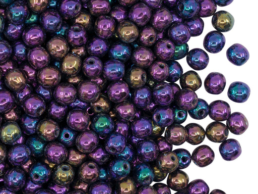 100 pcs Round Beads 4 mm, Jet Purple Iris, Czech Glass