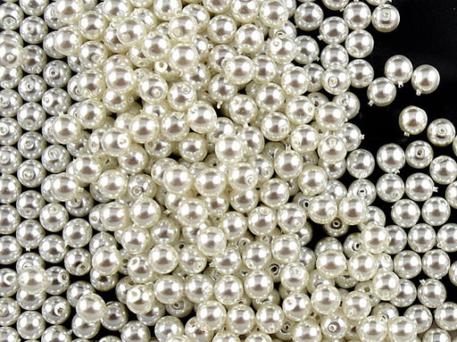 100 pcs Round Pearl Beads, 4mm, White Pearl, Czech Glass