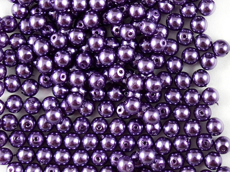 Round Pearl Beads, 4mm, Violet, Czech Glass