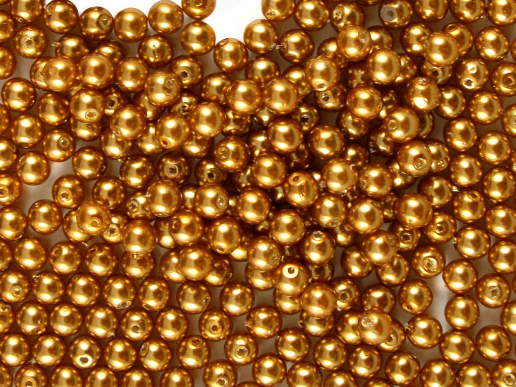 Round Pearl Beads, 4mm, Bronze Pearl, Czech Glass