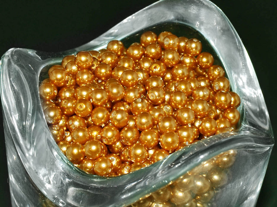 100 pcs Round Pearl Beads, 4mm, Bronze Pearl, Czech Glass
