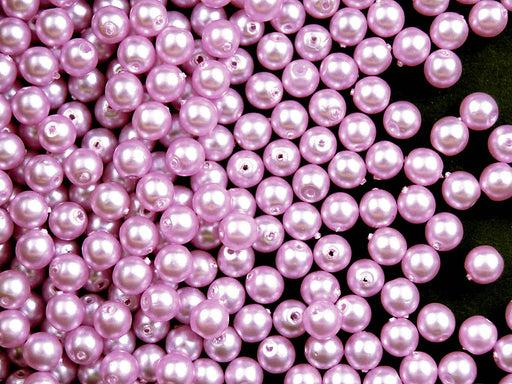 100 pcs Round Pearl Beads, 4mm, Light Lilac Matte, Czech Glass