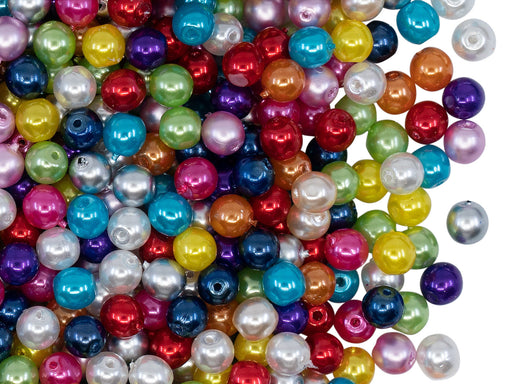 100 pcs Round Pearl Beads, 4mm, Mix Pearl Colors, Czech Glass